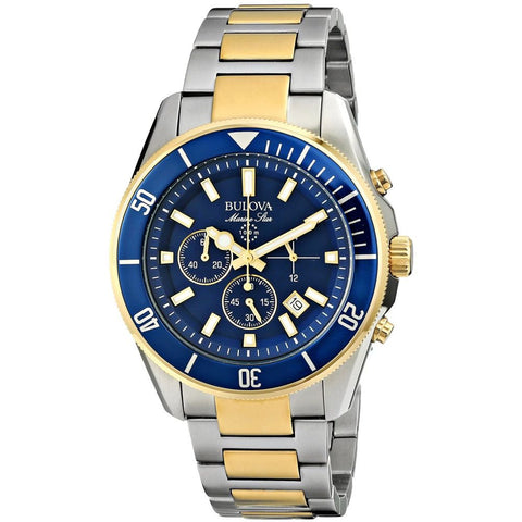 Bulova 98B230 Marine Star Analog Display Quartz Watch, Silver/Gold Stainless Steel Band, Round 43mm Case