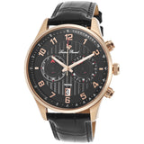 Lucien Piccard LP-11187-RG-01 Navona Men's Analog Display Quartz Watch, Black Leather Band, Round 44mm Case