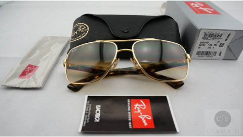 Ray-Ban RB3483 001/51 Sunglasses, Gold Frame, Light Brown Gradient 60mm Lenses