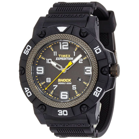 Timex TW4B01000 Expedition Field Shock Men's Analog Display Quartz Watch, Black Resin Band, Round 46mm Case