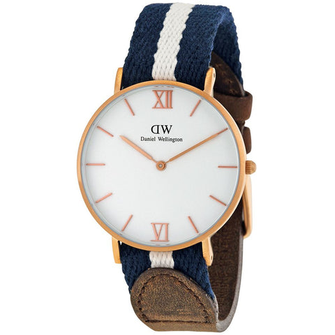 Daniel Wellington 0552DW Women's Grace Glasglow Analog Watch, Blue/White Nylon Band, Round 36mm Case