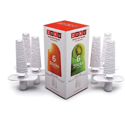 Zoku ZK102 Pop Sticks Set of 6, White Sticks BPA and Phthalate Free, Set Includes 6 Sticks and 6 Drip Guards