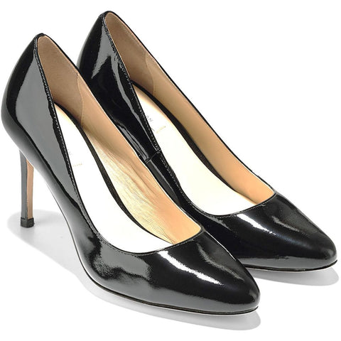 Cole Haan D42122 Bethany Pump 85mm Heel Women's Leather Shoes, Black Patent
