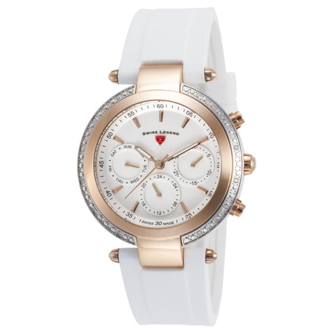 Swiss Legend SL-16175SM-SR-02-WHT Madison Women's Analog Display Quartz Watch, White Silicone Band, Round 38mm Case