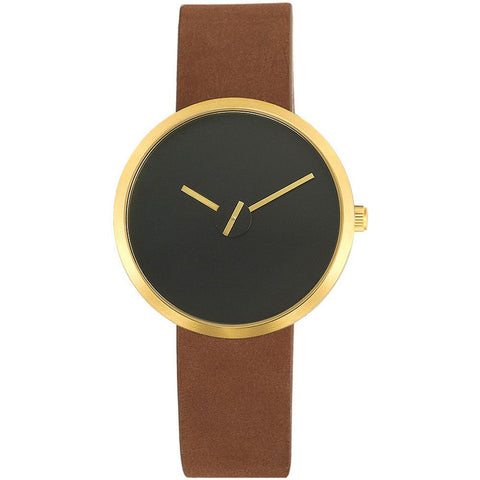 Projects 7290B Brass and Sassy Sometimes Analog Display Quartz Watch, Brown Suede Band, Round 36mm Case