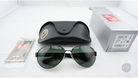Ray-Ban RB3509 004/71 Sunglasses, Gunmetal Frame, Green Classic 63mm Lenses