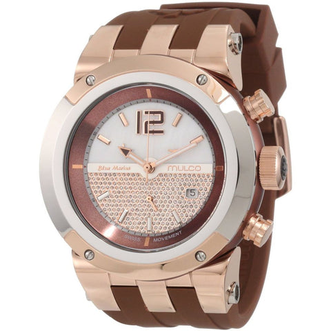 Mulco Unisex MW5-1621-033 Bluemarine Glass Analog Watch, Brown Silicone Band, Round 47mm Case