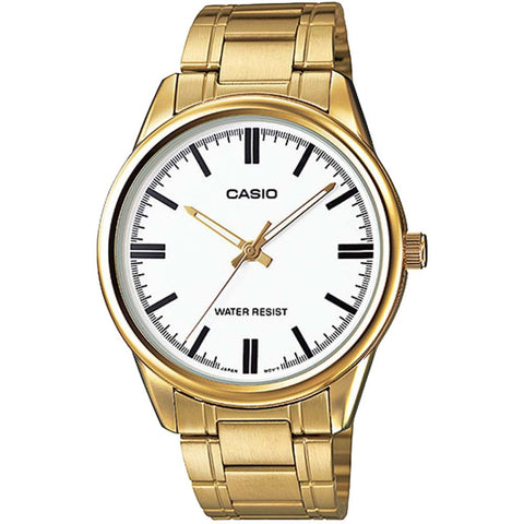 Casio MTP-V005G-7AUDF Analog Display Quartz Watch, Gold Stainless Steel Band, Round 40mm Case