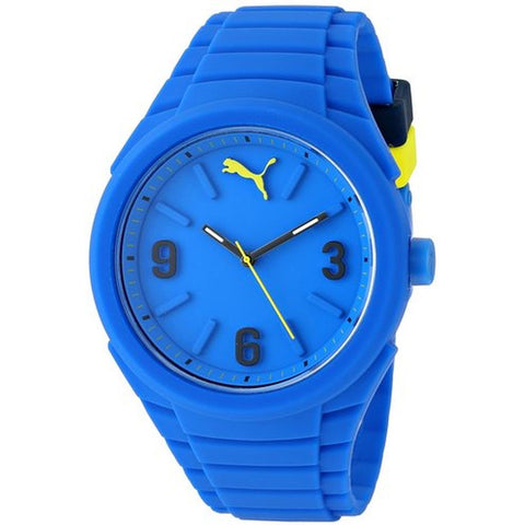 Puma PU103592003 Gummy Unisex Analog Display Quartz Watch, Blue Silicone Band, Round 46mm Case