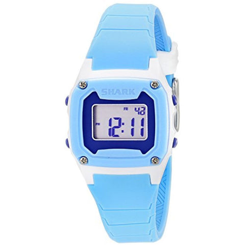 Freestyle Women's 10019185 Shark Classic Mini White/Blue Digital Watch, Blue Silicone Band, Square 30mm Case