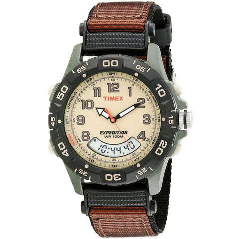 Timex T45181 Expedition Resin Combo, Analog/Digital Display Quartz Watch, Brown Nylon Band, Round 39mm Case
