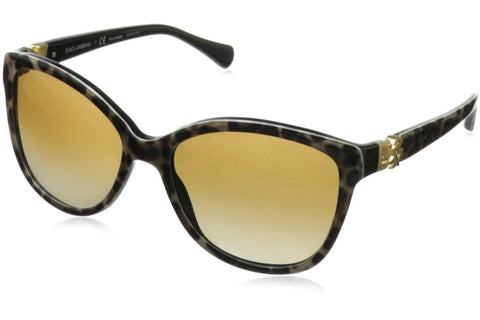 Dolce & Gabbana DG4162P 1995/T5 Iconic Logo Sunglasses, Leopard Frame, Polarized Brown Gradient 56mm Lenses