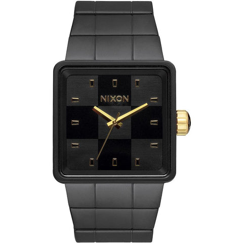 Nixon A013001 Men's Quatro All Black Analog Display Watch, Black Stainless Steel Band, Square 36mm Case