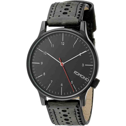 Komono KOM-W2012 Winston Brogue Jet Black Analog Quartz Watch, Black Leather Band, Round 41mm Case