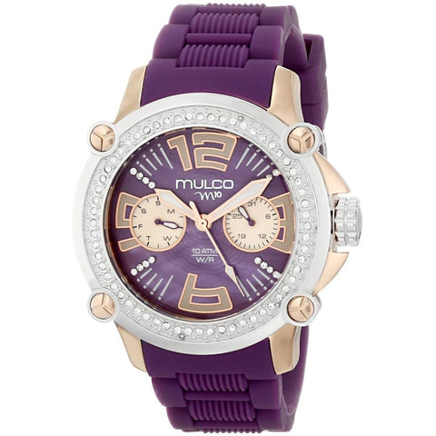 Mulco Women's MW2-28086S-054 Ladies M10 Analog Watch, Lavander Silicone Band, Round 43mm Case