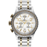 Nixon A4041921 Women's 38-20 Chrono Silver/Gold Analog Watch, Two-Tone Stainless Steel Band, Round 38mm Case
