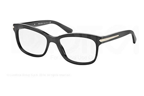 Prada 0PR10RV-1AB1O1 Arrow Eyeglasses, Black Frame, Clear 53mm Lenses