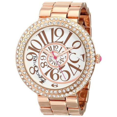 Betsey Johnson BJ00214-05 Women's Analog Display Quartz Watch, Rose Gold Stainless Steel Band, Round 48mm Case