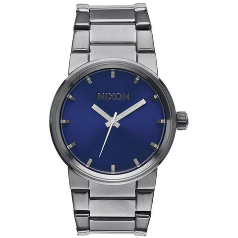 Nixon A1602065 Men's Cannon Gunmetal/Cobalt Sunray Analog Watch, Gunmetal Stainless Steel Band, Round 40mm Case