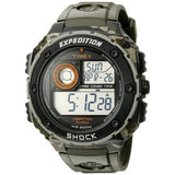 Timex T499819J Expedition Vibe Shock Men's Digital Display Quartz Watch, Green Resin Band, Round 50mm Case
