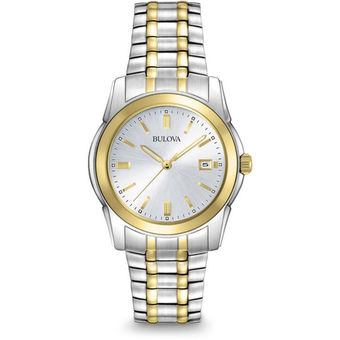 Bulova 98H18 Classic Analog Display Quartz Watch, Two-Tone Stainless Steel Band, Round 38mm Case