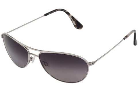 Maui Jim GS245-17 Baby Beach Sunglasses, Silver Frame, Neutral Grey Polarized 56mm Lenses