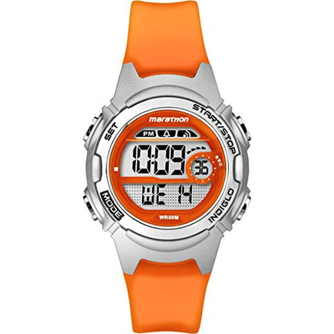 Timex TW5K96800 Marathon Alarm Chronograph Women's Digital Display Quartz Watch, Orange Resin Band, Round 33.5mm Case