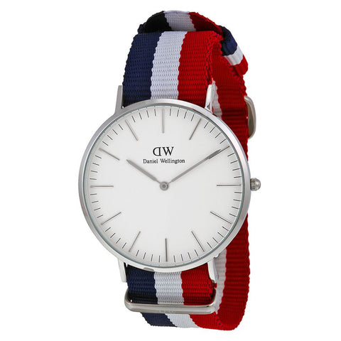 Daniel Wellington 0203DW Cambridge Quartz Analog Men's Watch, NATO Nylon Band, Silver 40mm Case