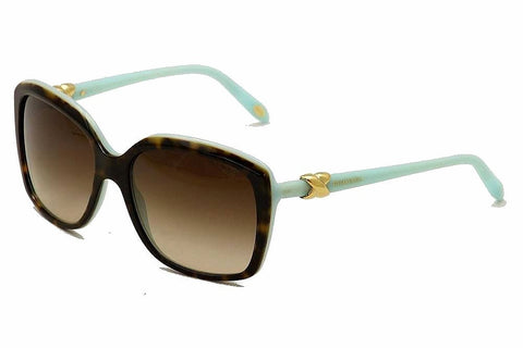 Tiffany TF4076 81343B Signature Sunglasses, Tortoise/Blue Frame, Brown Gradient 58mm Lenses