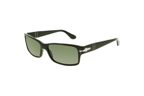 Persol PO2803S Men's Rectangular Sunglasses, Black Frame, Green Polarized 58mm Lenses