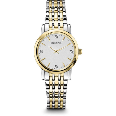 Bulova 98S115 Diamond Analog Display Women's Watch, Two-Tone Band, Round 27mm Case
