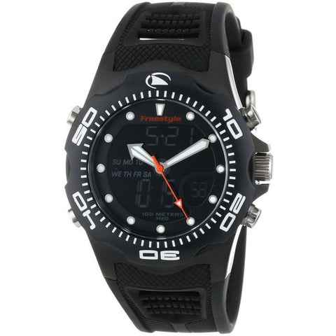 Freestyle FS81241 Men's Shark X 2.0 Black IP Analog-Digital Display Quartz Watch, Black Polyurethane Band, Round 42mm Case