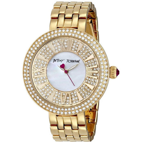 Betsey Johnson BJ00343-02 Women's Analog Display Quartz Watch, Gold Stainless Steel Band, Round 43mm Case