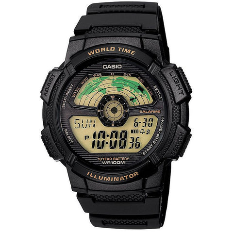 Casio AE-1100W-1BVSDF Digital Display Quartz Watch, Black Resin Band, Round 43.7mm Case