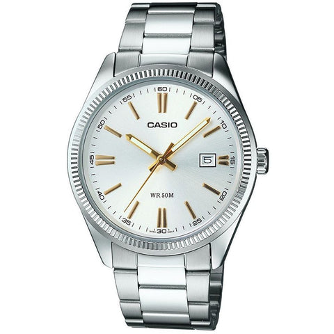 Casio MTP-1302D-7A2VDF Men's General Analog Display Quartz Watch, Silver Stainless Steel Band, Round 38mm Case