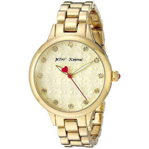Betsey Johnson BJ00293-12 Women's Analog Display Quartz Watch, Gold Stainless Steel Band, Round 38mm Case