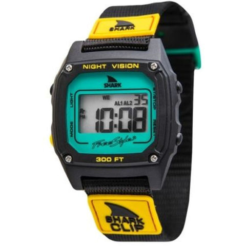 Freestyle Unisex 10019182 Shark Clip Green/Orange Digital Watch, Black Nylon Band, Square 38mm Case