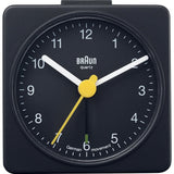 Braun BNC002BKBK Classic Analog Display Quartz Alarm Clock, Black Square Case