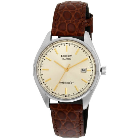 Casio MTP-1175E-9A Analog Displat Quartz Watch, Brown Leather Band, Round 48mm Case
