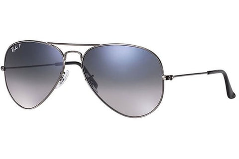 Ray-Ban RB3025 004/78 Aviator Gradient Sunglasses, Gunmetal Frame, Polarized Blue/Grey Gradient 55mm Lenses