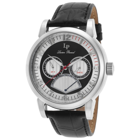 Lucien Piccard LP-15051-02S Montana Men's Analog Display Quartz Watch, Black Leather Band, Round 45mm Case