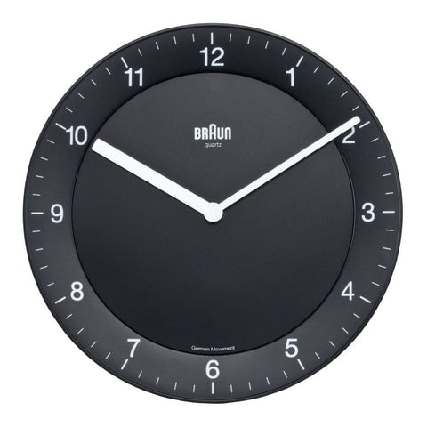 Braun BNC006BKBK Classic Analog Display German Quartz Wall Clock, Round 201mm Case, Black