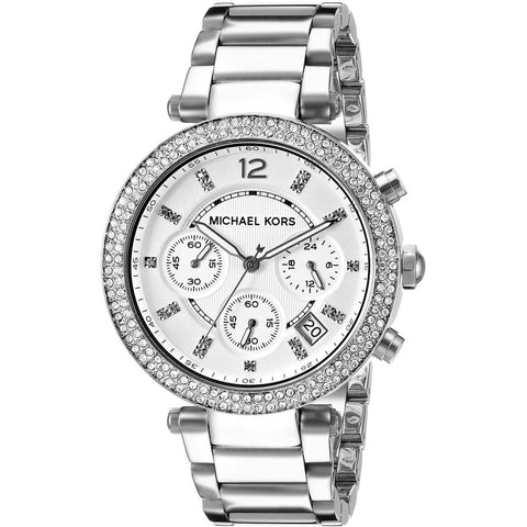 Michael Kors MK5353 Parker Analog Display Chronograph Quartz Watch, Silver Stainless Steel Band, Round 38mm Case