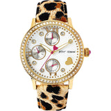 Betsey Johnson BJ00494-02 Women's Analog Display Quartz Watch, Leopard Printed Leather Band, Round 40mm Case