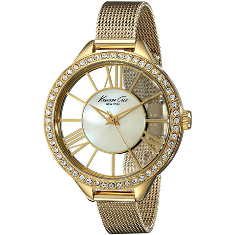 Kenneth Cole KC0008 Transparency Mother Of Pearl Analog Display Quartz Watch, Yellow Gold Stainless Steel Band, Round 40mm Case