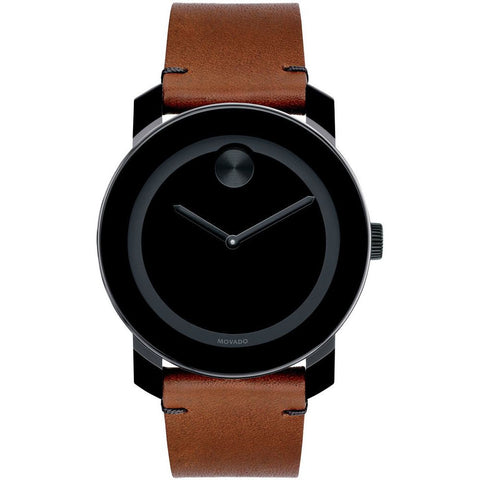 Movado 3600351 Bold Analog Display Quartz Watch, Brown Leather Band, Round 42mm Case
