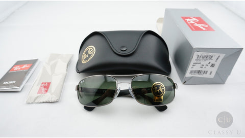 Ray-Ban RB3445 004 Sunglasses, Gunmetal Frame, Green Classic 61mm Lenses