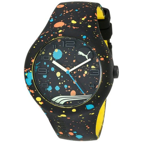 Puma PU103211021 Form XL Paint-Splattered Unisex Analog Display Quartz Watch, Black Silicone Band, Round 47mm Case