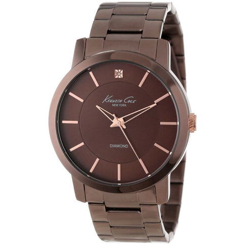 Kenneth Cole KC9287 Dress Sport Men's Analog Watch, Brown Stainless Steel Band, Round 44mm Case