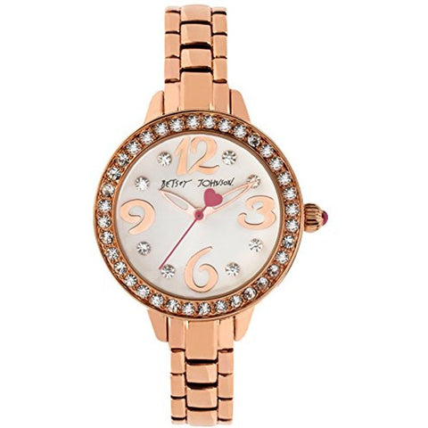 Betsey Johnson BJ00335-04 Women's Analog Display Quartz Watch, Rose Gold Stainless Steel Band, Round 32mm Case